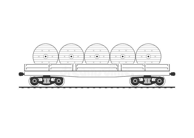 Flatcar z kablowymi rolkami royalty ilustracja
