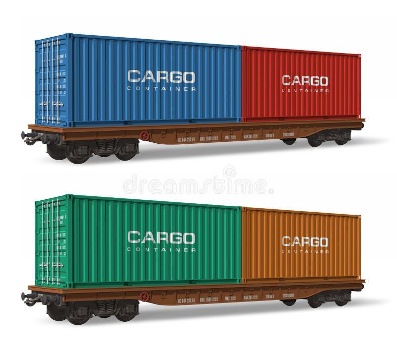 Flatcars della ferrovia con i contenitori di carico illustrazione vettoriale