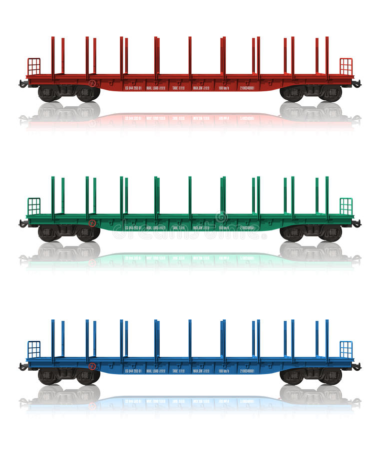 flatcars linii kolejowej set royalty ilustracja
