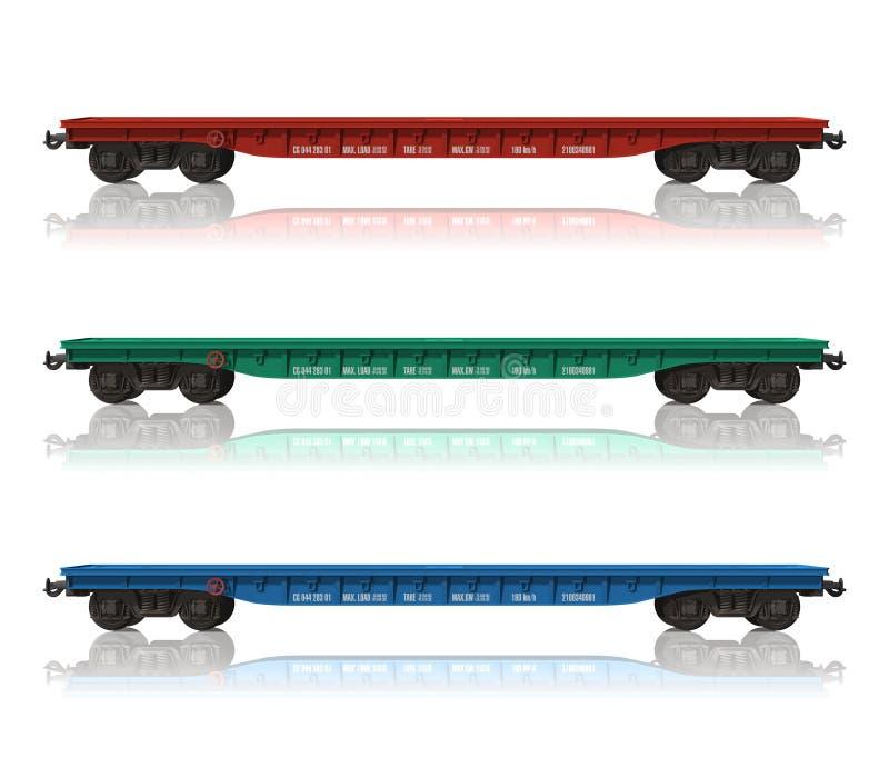 flatcars linii kolejowej set ilustracji