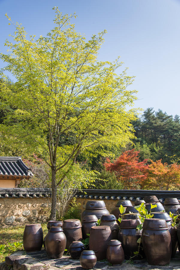 Flatform traditionnel coréen de cruches image libre de droits