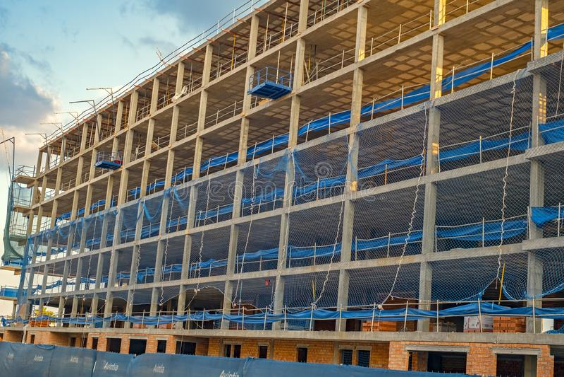 Flatgebouw In aanbouw stock foto's