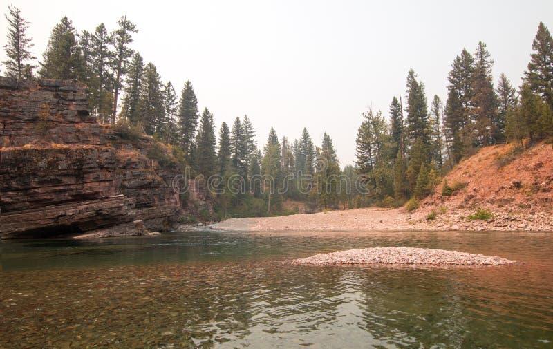 Flathead και επισημαμένος αντέξτε τους ποταμούς που συναντούν το σημείο στην περιοχή αγριοτήτων του Marshall βαριδιών κατά τη διά στοκ εικόνες με δικαίωμα ελεύθερης χρήσης