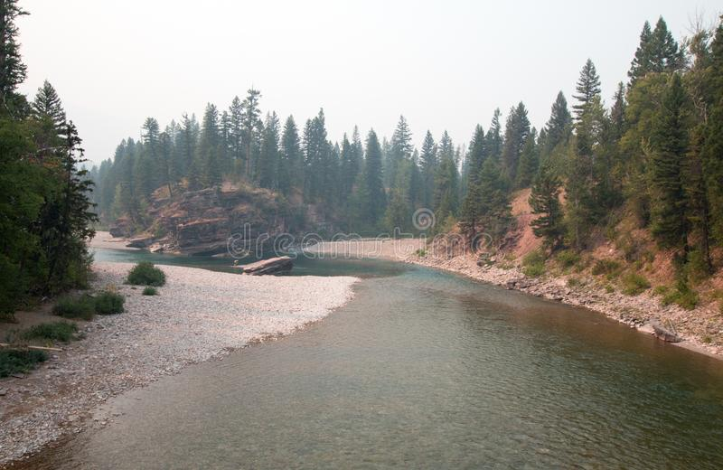 Flathead and Spotted Bear Rivers meeting point in the Bob Marshall wilderness area during the 2017 fall fires in Montana USA. Confluence where the Flathead and royalty free stock images