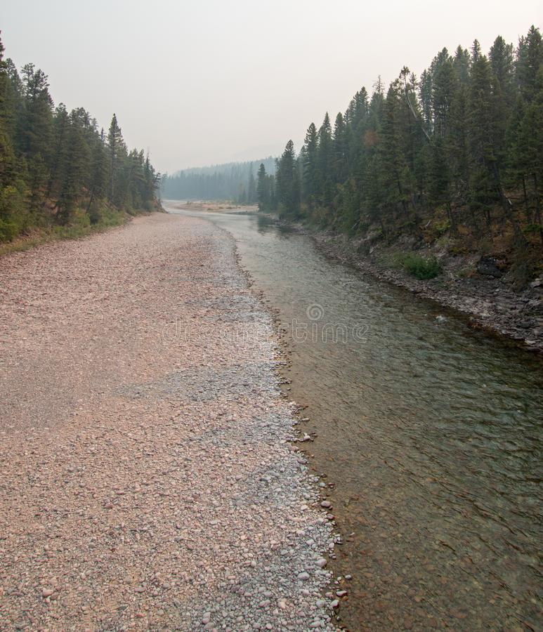 Flathead and Spotted Bear Rivers meeting point in the Bob Marshall wilderness area during the 2017 fall fires in Montana USA. Confluence where the Flathead and stock image