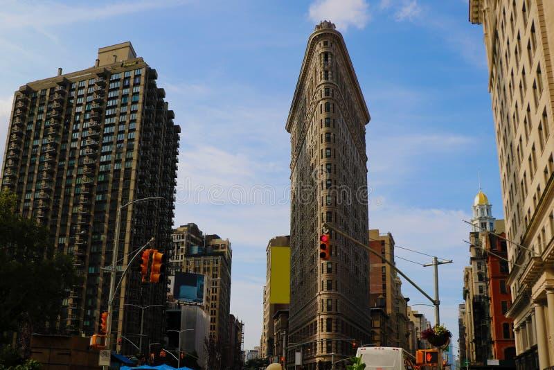 Flatiron budynku widok Sierpień 25, 2018, Nowy Jork, usa Flatiron budynek, projektujący Chicago Daniel Burnham, drapacz chmur zdjęcie royalty free