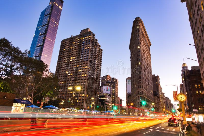 Flatiron Building at Dusk, New York City. NEW YORK CITY - OCTOBER 28: Flatiron building at night on October 28, 2017 in New York City, USA. Completed in 1902, it stock photo