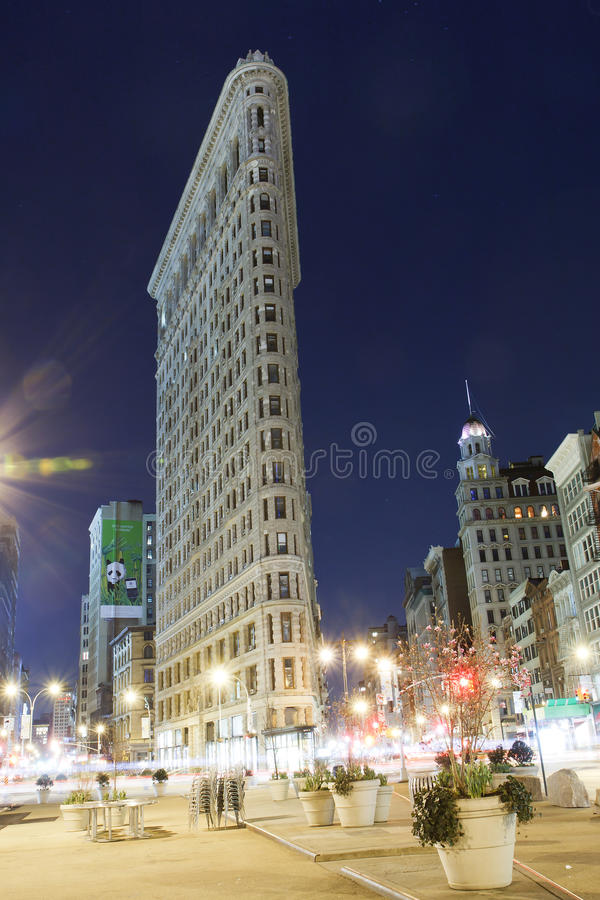 Flatiron Gebäude New York City nachts lizenzfreie stockbilder
