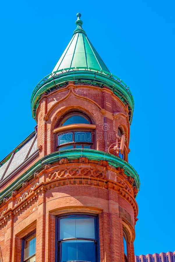 Flatiron or Gooderham building, Toronto, Canada. Flatiron or Gooderham building front part detail.The red-brick landmark is a historic tourist attraction on the stock photography