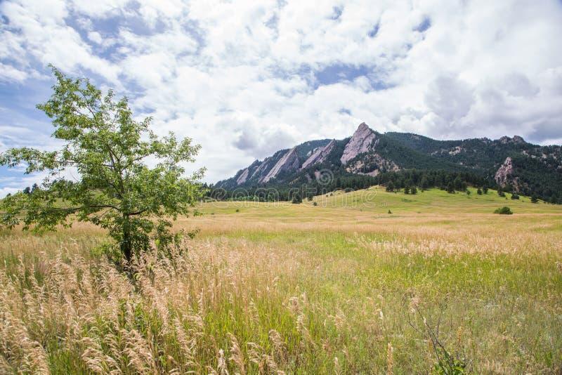 Flatirons blisko głazu, Kolorado zdjęcie royalty free