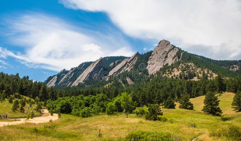 The Flatirons in Boulder, Colorado on a sunny summer day stock photos