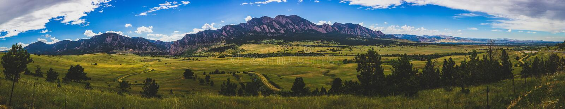Boulder Flatirons Panorama stock photography