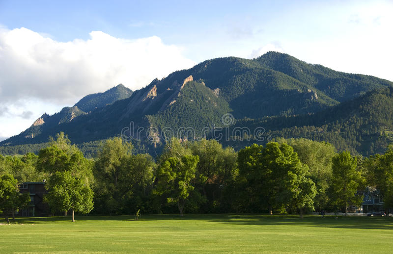 The Flatirons Mountains royalty free stock photo