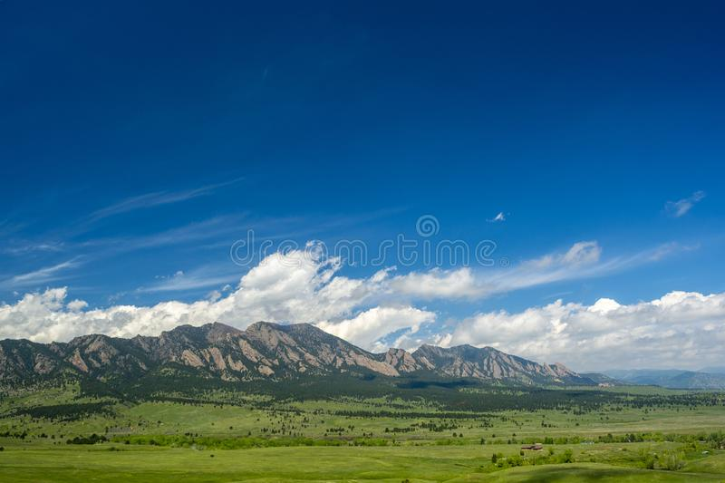 The Flatirons Mountains in Boulder, Colorado on a Sunny Day stock photo