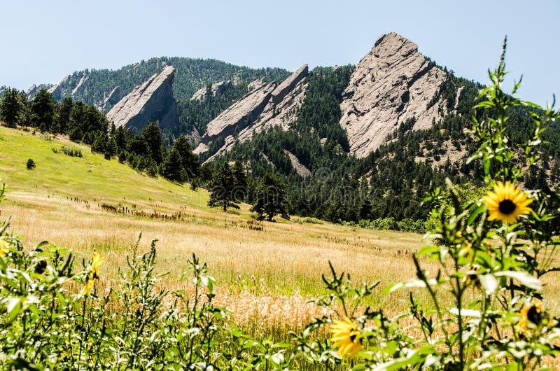 FlatIrons rock formation Boulder Colorado stock images