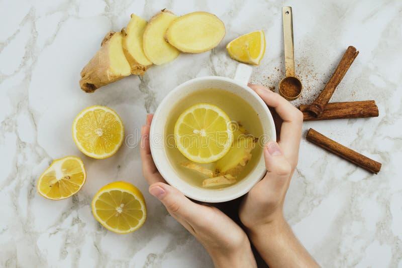 Flatlay de la bebida sana con el limón, la raíz fresca del jengibre, los palillos de canela y el jarabe del agavo en el mármol imagenes de archivo