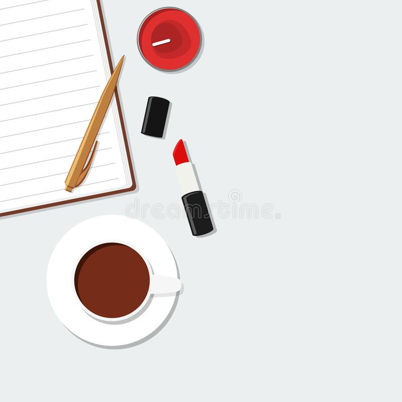 Flatlay document, pencil, lipstick, coffee. Business girl vector illustration. stock images