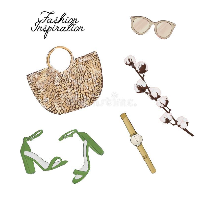 Flatlay enkel tillbehör: påsen solglasögon, skor, växtvektor skissar Trendig tidskriftillustration för glamour stock illustrationer