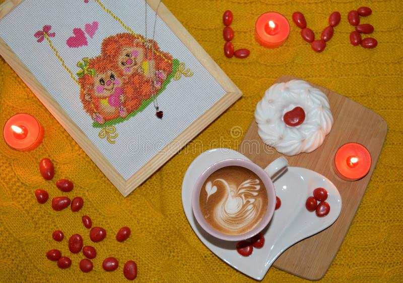 Flatlay Happy Valentine`s Day with the word Love royalty free stock photography
