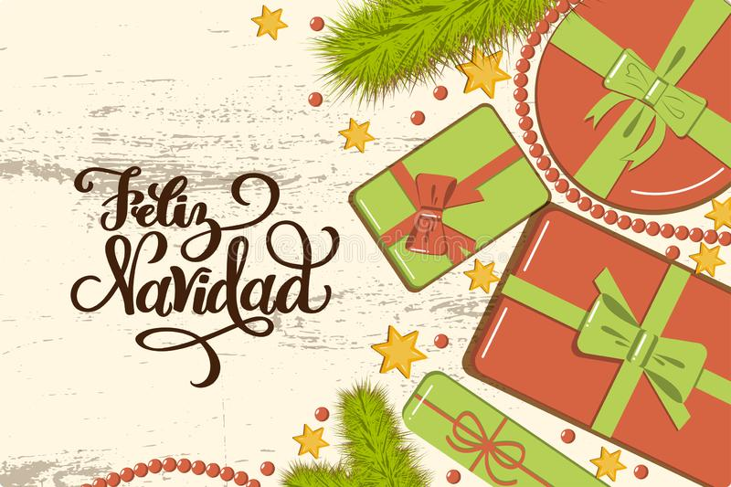 Flatlay mockup with fir, bright gift boxes with bow, beads and stars on rustic background with lettering Feliz Navidad Merry. Christmas in Spanish greeting card royalty free illustration