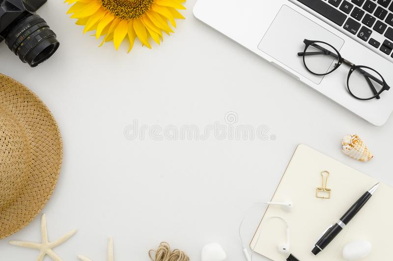 Merveilleux Download Flat Lay Mock Up. Summer Frame From Office Supplies On White Office  Table With