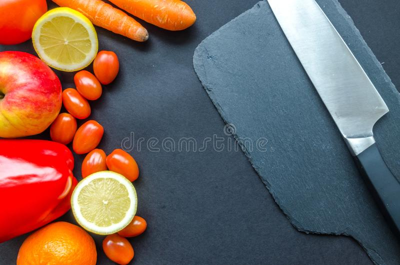 Flatlay Photo of Fruits and Vegetables royalty free stock photography