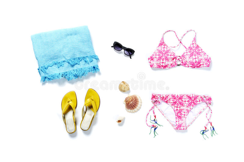 Flatlay top travel vacation bikini pink royalty free stock photos