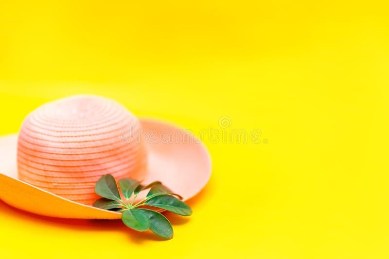 Flatlay tropicale della foglia verde e del cappello sul fondo giallo di colore, vista superiore fotografie stock