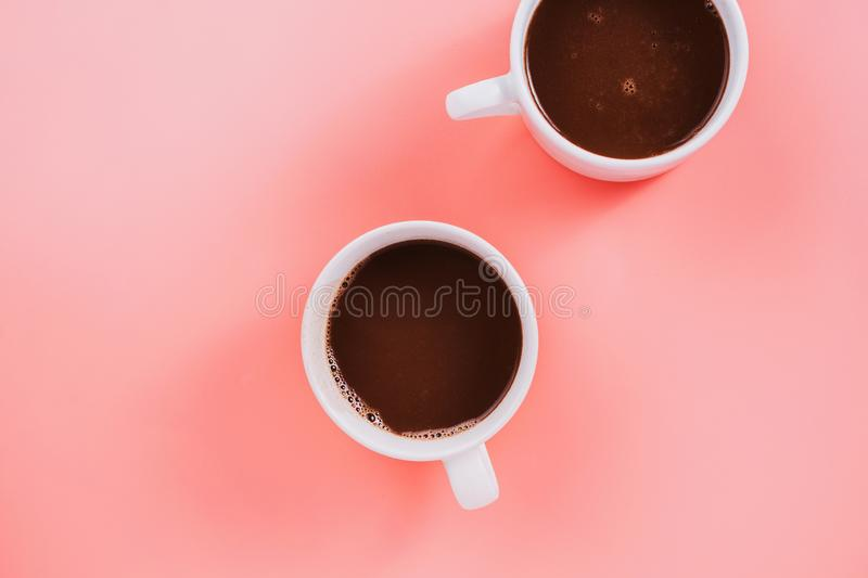 Flatlay of two cup vegan cocoa or hot chocolate royalty free stock images