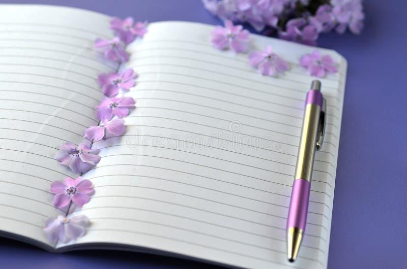 Flatlay ultra-violet du phlox féminin de papeterie, de carnet, de stylo et de lavande fleurit avec l'espace de copie photo stock
