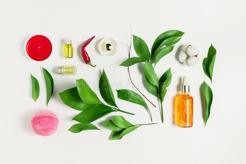 Flatlay van serum, parfum, badbom, etherische oliën met ruscus gaat weg royalty-vrije stock foto