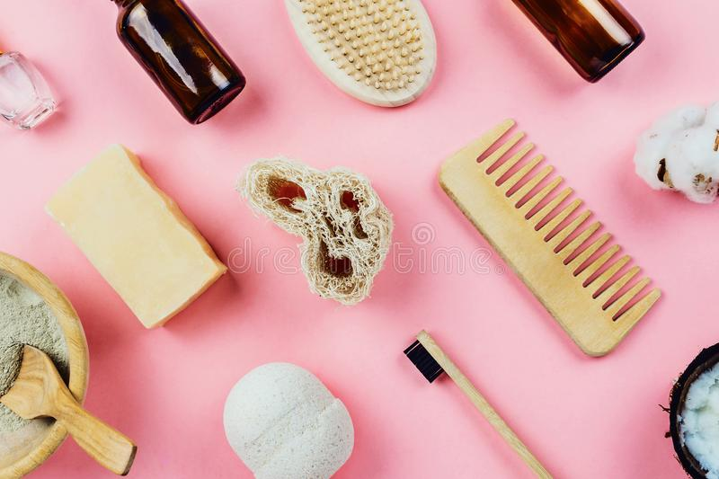 Flatlay of various beauty zero waste sustainable beauty and bath products stock photos
