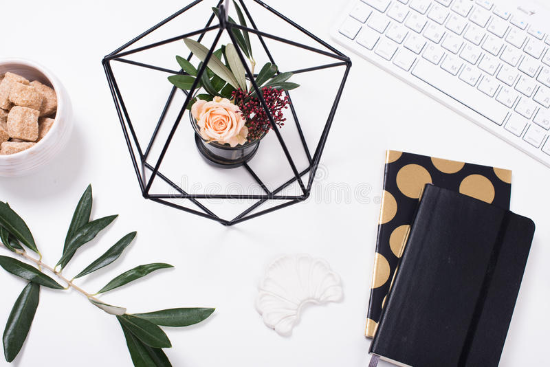 Flatlay vit kvinnlig tabletop fotografering för bildbyråer