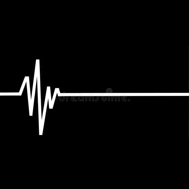 Flatline沉重,EKG例证 免版税库存图片