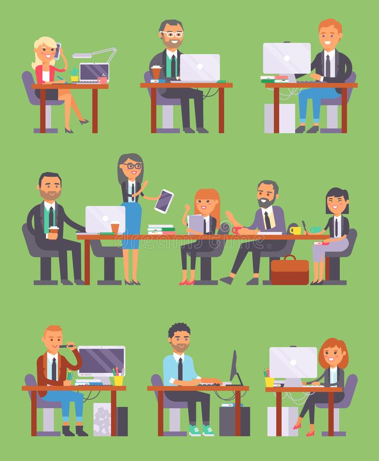 Flatr-Vektorgeschäftsleute ArbeitsplatzBüroangestellte oder Person, die an Laptop und PC am Tisch im Büromitarbeiter arbeiten lizenzfreie abbildung