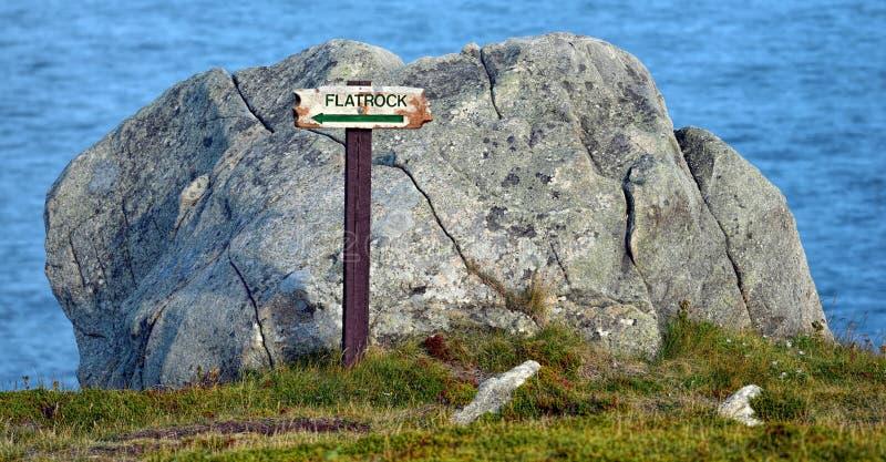Flatrock tecken på ostkustslingan, Newfoundland, Kanada royaltyfri bild