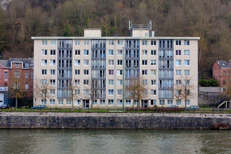 Apartment building bank Meuse, Leffe, Dinant, Belgium stock images