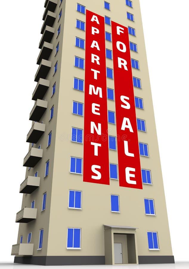 Flats voor verkoop De reclame van affiche op het flatgebouw stock illustratie