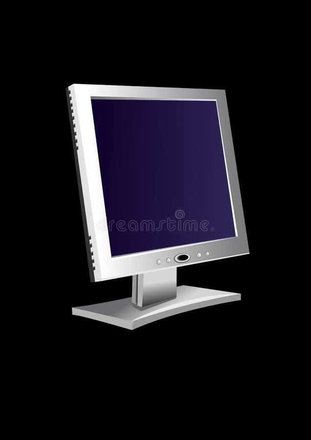 Flatscreen monitor. Flat screen monitor with black background stock illustration