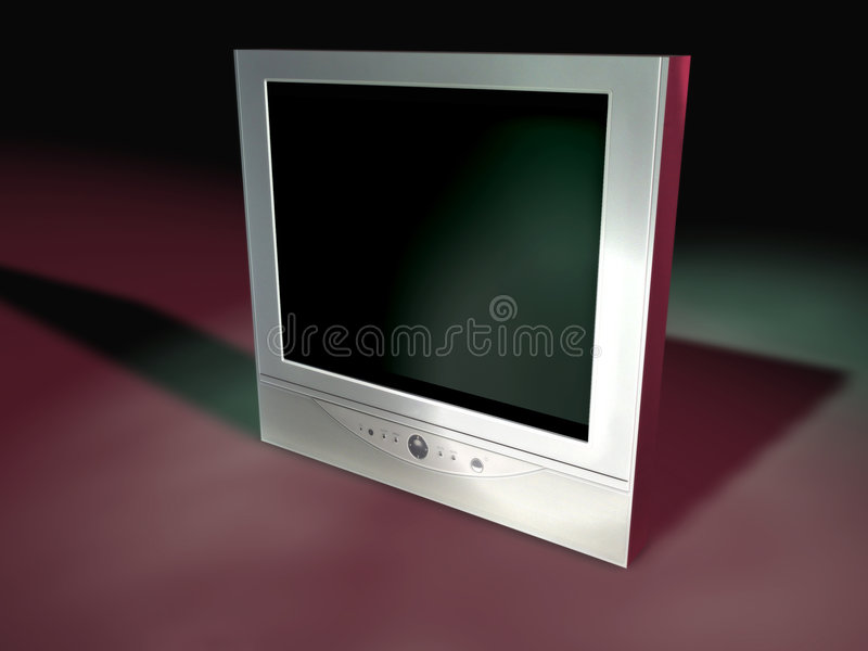 Flatscreen TV 5. A flatscreen tv I created in Cinema 4D. Empty screen with deep purple/green tones royalty free illustration