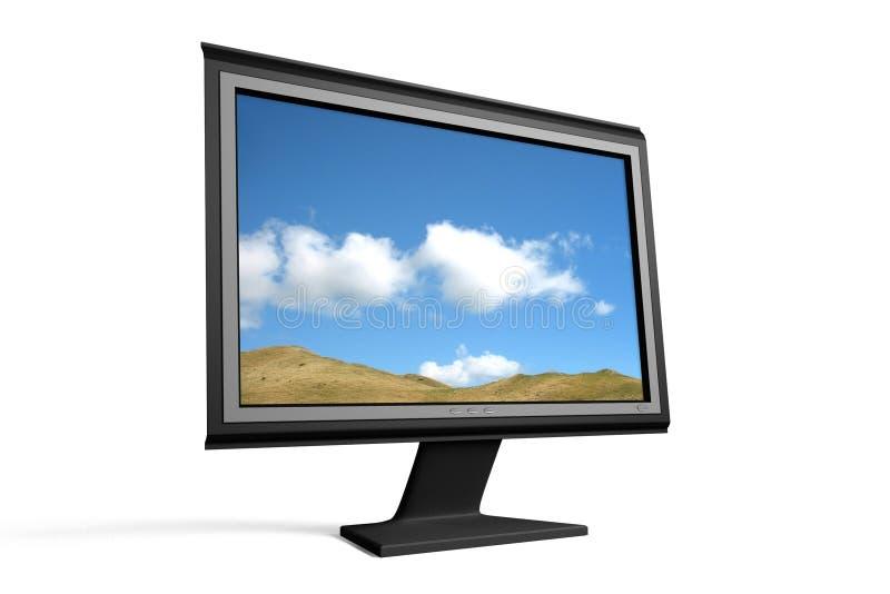 flatscreenbildskärmtv wide royaltyfri illustrationer