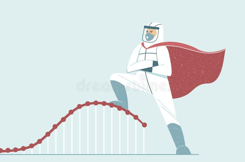 Flatten The Curve. Doctor Wearing Full Protective Gear In ...