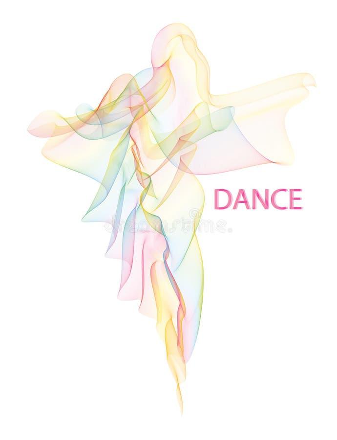 Flatternder luftiger bunter Wässerungsschleier faltete sich in einer Form oder tanzenden in einem Frauenschattenbild lizenzfreie abbildung
