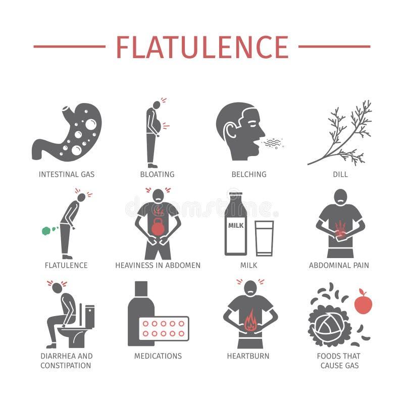flatulentie Symptomen, Behandeling Geplaatste pictogrammen Vectortekens royalty-vrije illustratie