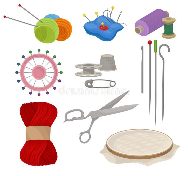 Flatvectorreeks hulpmiddelen en materialen voor het naaien en het breien Makende apparatuur Handwerktoebehoren stock illustratie