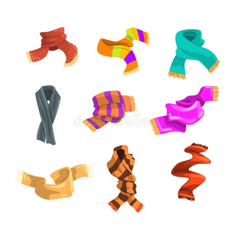 Flatvectorreeks warme wollen en gebreide sjaals voor kinderen en volwassene in koud weer Modieuze de wintertoebehoren vector illustratie