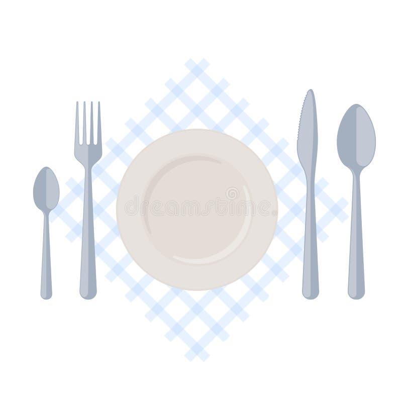 Flatware: κενό πιάτο με το δίκρανο, τα κουτάλια και το μαχαίρι σε ένα επιτραπέζιο NAP διανυσματική απεικόνιση