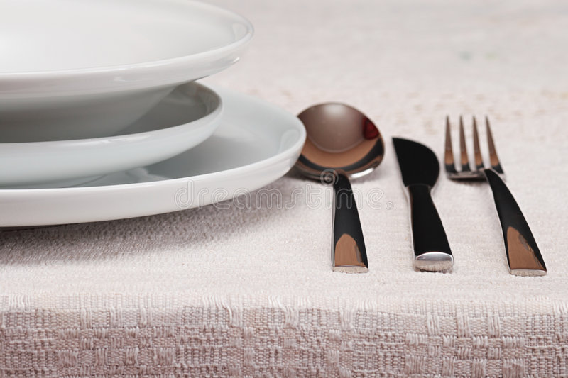 Flatware. Focus on a foreground stock image