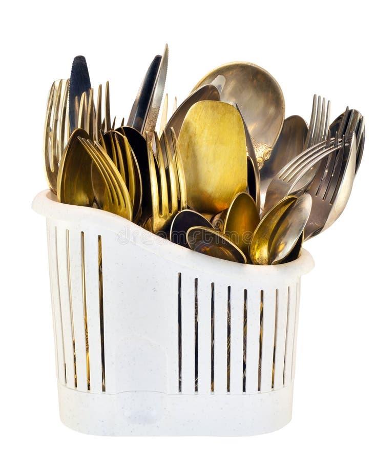 Flatware do ouro velho e da prata imagens de stock