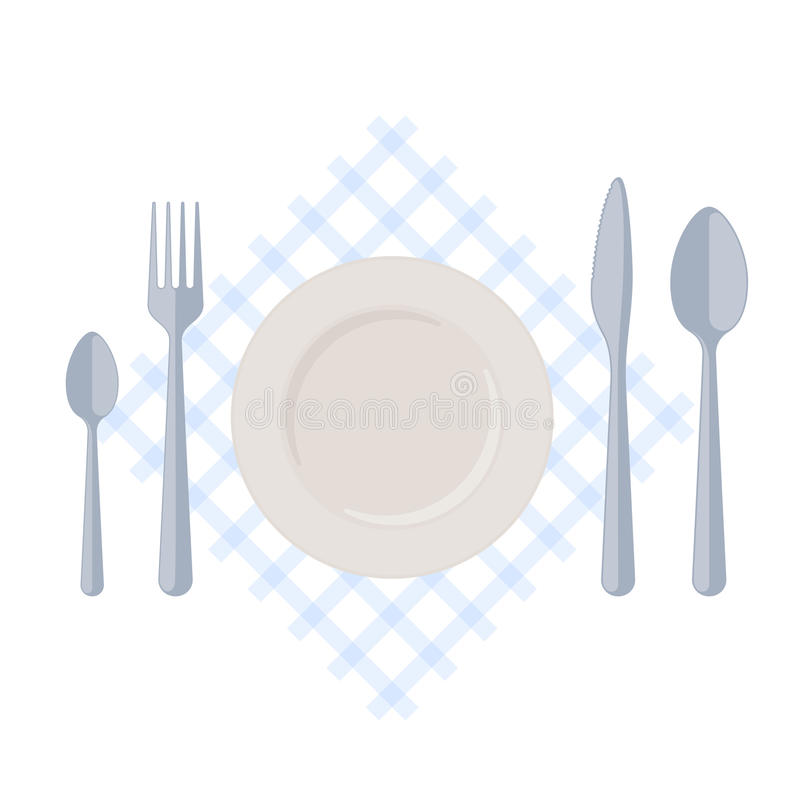 Flatware: empty plate with fork, spoons and knife on a table nap vector illustration